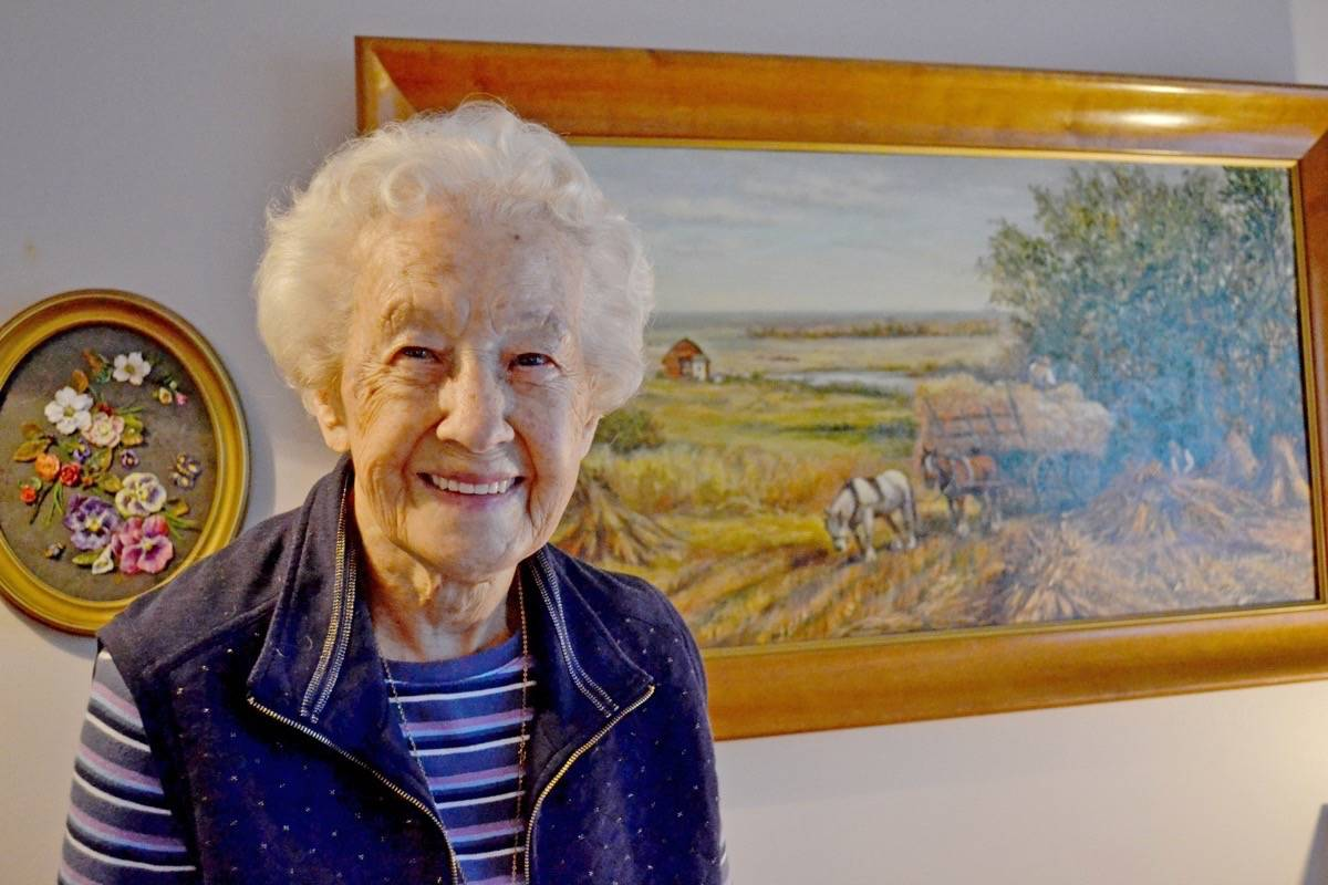 Helen Watson, posing for a photo for her 100th birthday, turned 105 on Saturday (Nov. 21). (File photo)